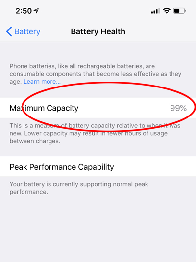 battery health iphone